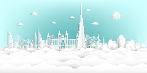 Estilo do corte de papel united arab emirates e skyline da cidade com os marcos mundialmente famosos.