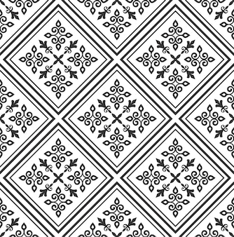Estilo do damasco do teste padrão da telha, papel de parede clássico preto e branco