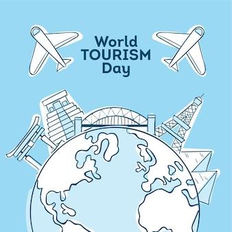Estilo do dia do turismo mundial desenhado à mão