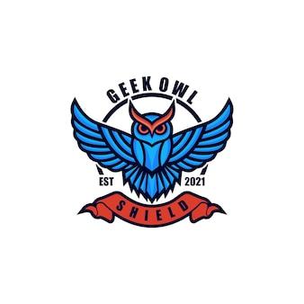 Estilo do emblema da cor da coruja do logotipo.
