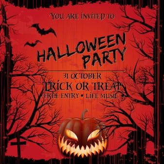 Estilo do grunge do molde do cartaz do convite do partido de dia das bruxas.