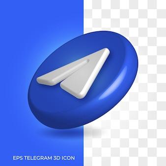 Estilo do logotipo 3d do telegrama em recurso de ícone arredondado isolado