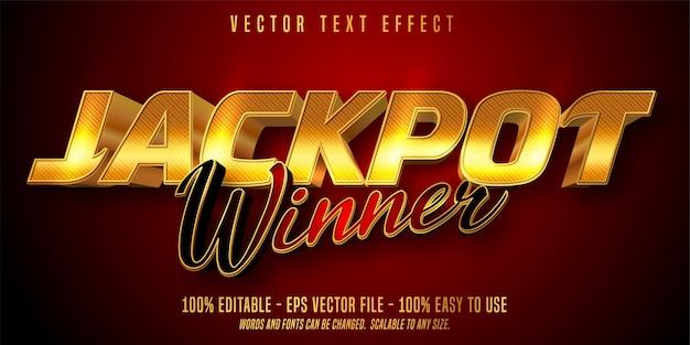 Estilo do prêmio jackpot, efeito de texto editável