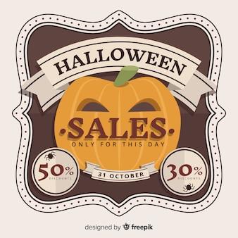 Estilo do vintage do fundo das vendas de halloween