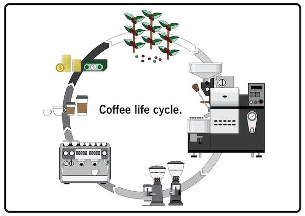 Estilo do vintage do vetor do ciclo de vida do café.
