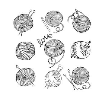 Estilo doodle desenho conjunto de bolas de lã de tricô