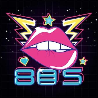 Estilo dos anos 80 dos lábios pop art