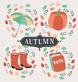 Estilo dos desenhos animados conjunto de símbolos de outono: raposa, abóbora, botas amarelas e outros. ícone para web. isolado no fundo branco.