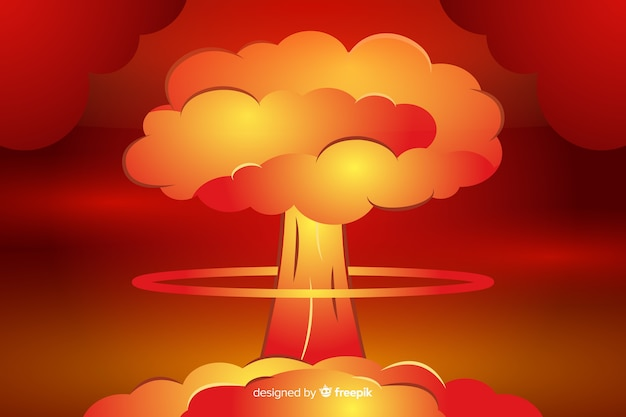 Estilo dos desenhos animados da ilustração da explosão nuclear