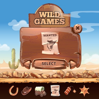 Estilo dos desenhos animados da interface do usuário da interface do usuário da paisagem do deserto do oeste selvagem. distintivo e procurado, placa e ferradura, estrela e dinamite