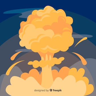 Estilo dos desenhos animados de efeito de explosão nuclear