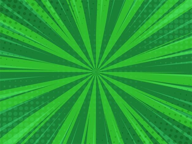 Estilo dos desenhos animados do fundo verde de abstack. bigbamm ou luz solar.