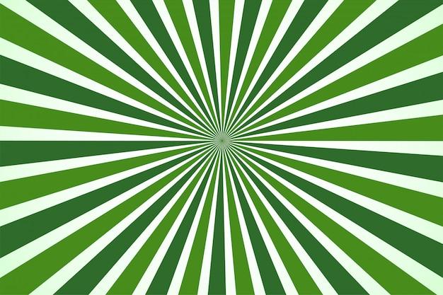 Estilo dos desenhos animados do fundo verde de abstack. bigbamm ou sunlight, sunburst