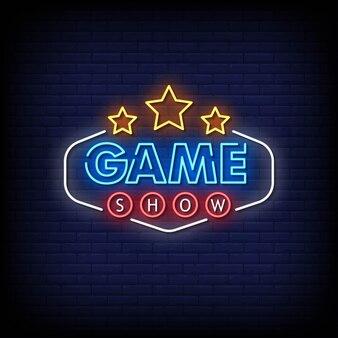 Estilo dos letreiros de néon do game show
