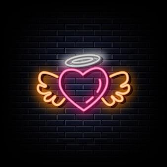 Estilo dos sinais de néon do logotipo das asas do coração