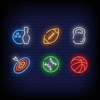 Estilo dos sinais de néon do símbolo esportivo
