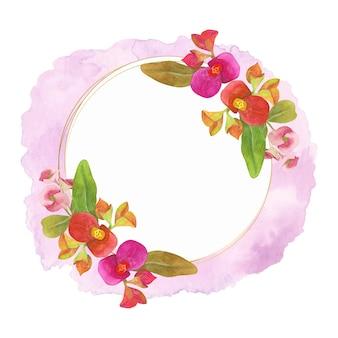 Estilo elegante aquarela moldura floral com respingo