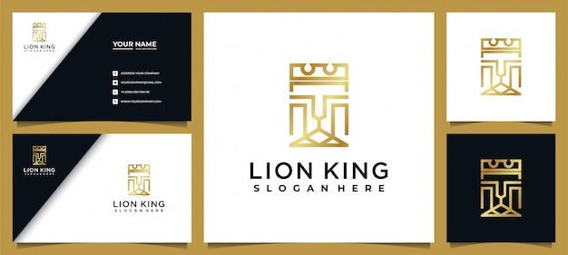 Estilo elegante da linha do logotipo do rei leão com cartão de visita