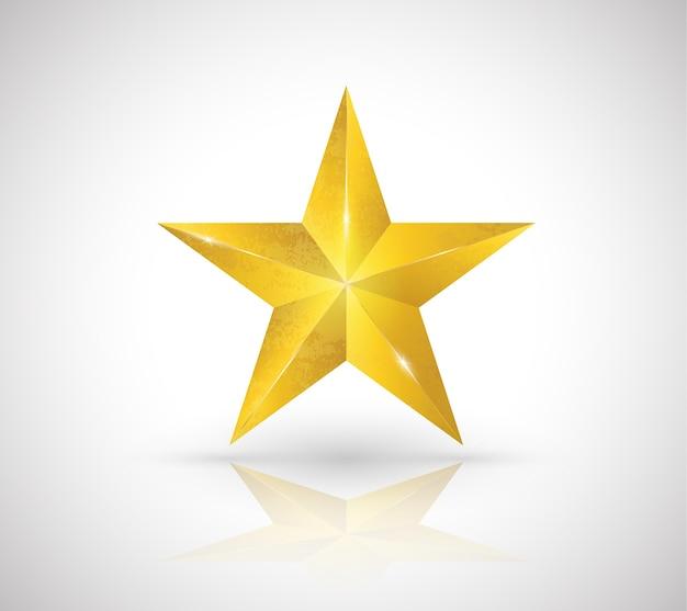 Estilo elegante do vetor 3d da textura da estrela do ouro.