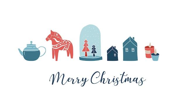 Estilo escandinavo, cartão de feliz natal simples e elegante com elementos desenhados à mão