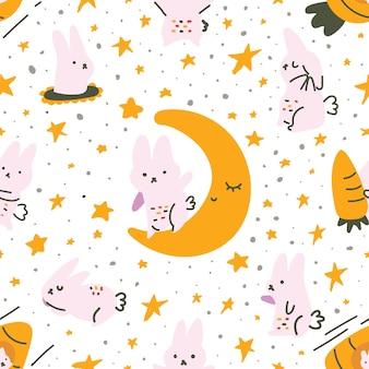 Estilo escandinavo em cor pastel fofa lua de coelho cenoura padrão sem emenda