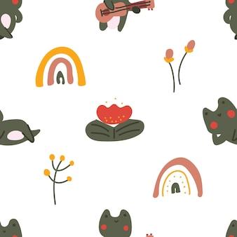 Estilo escandinavo em cor pastel fofa sapo bebê flor de sapo doodle padrão sem emenda