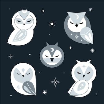 Estilo escandinavo moderno com corujas da lua. composição de cor prata no fundo do espaço escuro. ilustração.