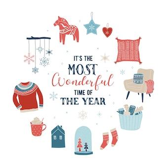 Estilo escandinavo, simples e elegante cartão de feliz natal com elementos desenhados à mão, citações e letras