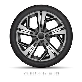 Estilo esportivo realista de pneu de carro com roda de alumínio