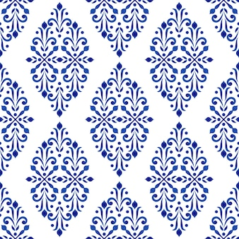 Estilo floral decorativo azul e branco do damasco do teste padrão, decoração do papel de parede