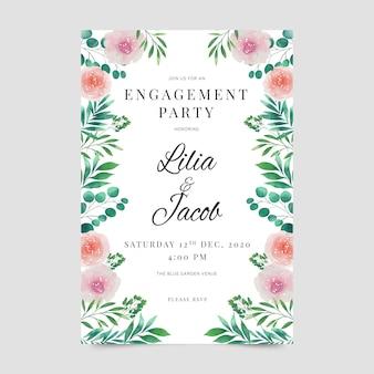 Estilo floral do modelo de convite de noivado