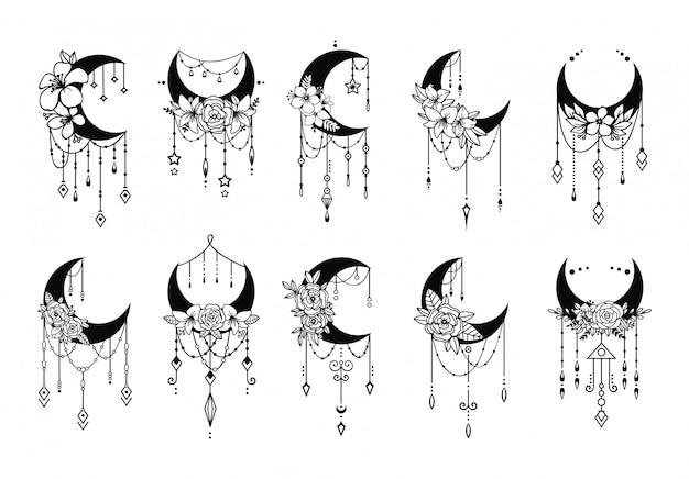 Estilo floral lua crescente, coleção de elementos de decoração de lua