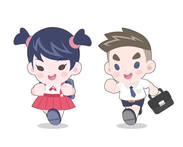 Estilo fofo casal de jovens estudantes tailandeses correndo ilustração