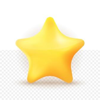 Estilo fofo de desenho animado com estrela amarela em 3d com fundo branco transparente
