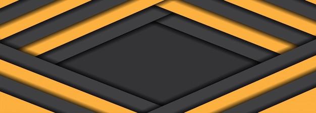 Estilo futurista abstrato e moderno de fundo amarelo com camadas de sobreposição de cinza escuro