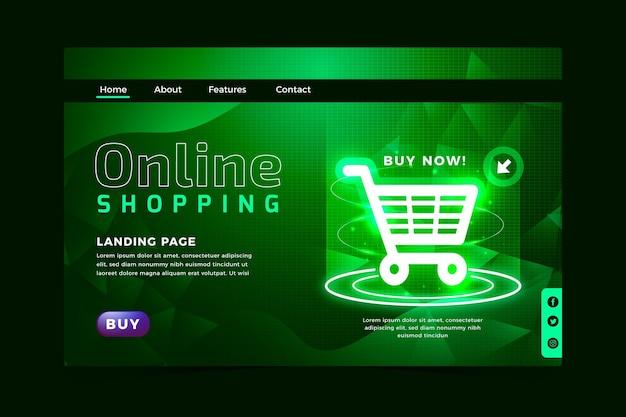 Estilo futurista de site de compras on-line