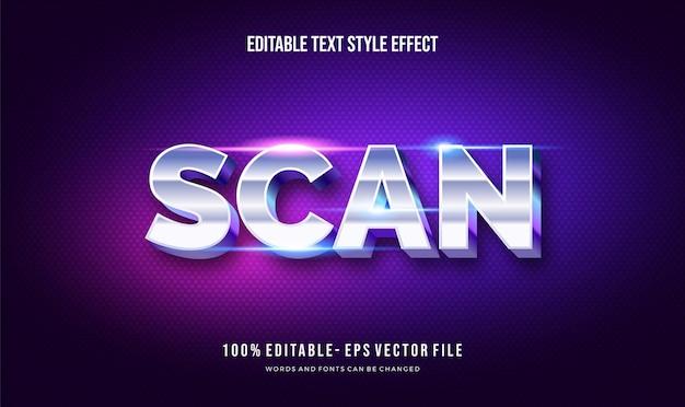 Estilo futurista moderno e estilo de texto editável com efeito azul brilhante. efeito de texto editável
