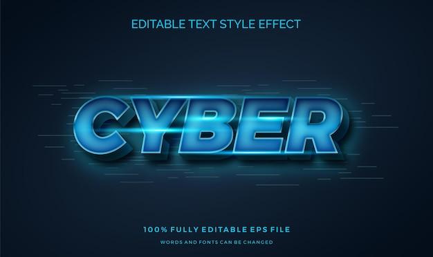 Estilo futurista moderno e estilo de texto editável com efeito azul brilhante.