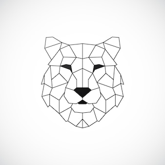 Estilo geométrico abstrato de cabeça de tigre poligonal