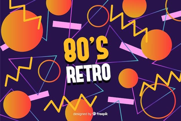 Estilo geométrico de fundo colorido dos anos 80