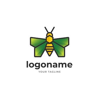 Estilo geométrico de logotipo de abelha de mel de arte de linha abstrata para agricultura jardim fazenda
