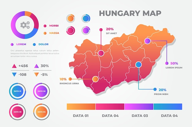 Estilo gradiente de infográficos de mapa da hungria
