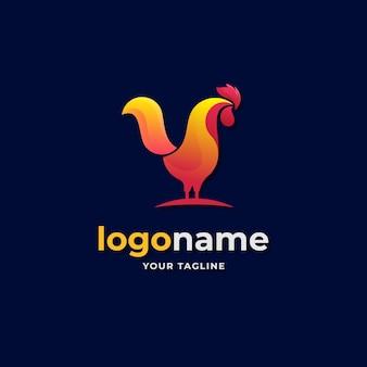 Estilo gradiente de logotipo abstrato de galo de frango para negócios de empresa de fazenda e restaurante