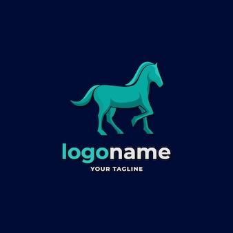 Estilo gradiente de logotipo de cavalo abstrato para competição de corrida de velocidade