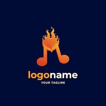 Estilo gradiente de logotipo de música melodia fogo