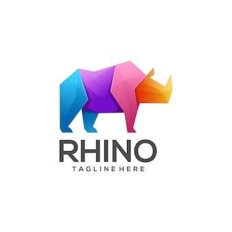 Estilo gradiente de rinoceronte logotipo colorido