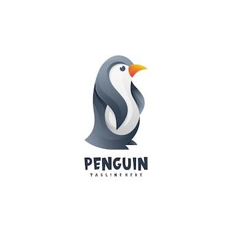 Estilo gradiente do logotipo do pinguim