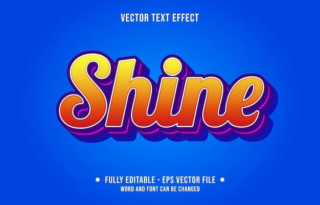 Estilo gradiente moderno com efeito de texto editável shine