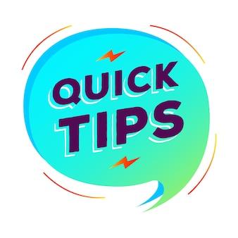 Estilo gradiente moderno de vetor de bolha de discurso de dicas rápidas para solução de emblema de dica de ferramenta e banner de conselho