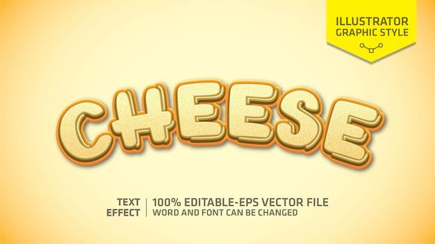 Estilo gráfico de efeito de texto de queijo